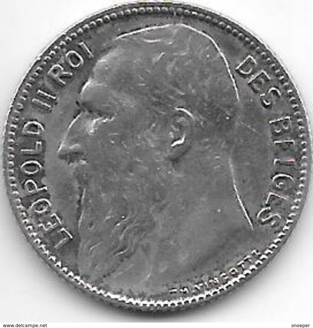*belguim 1 Franc  Leopold II  1909 French  TH Met Punt(with Point) Vf+ - 1865-1909: Leopold II