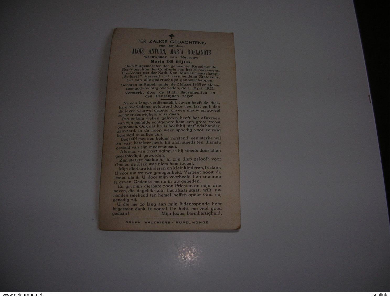 Alois Roelandts (Rupelmonde 1865-Rupelmonde 1953)x De Rijck     -     Oud-Burgemeester Van Rupelmonde - Devotion Images