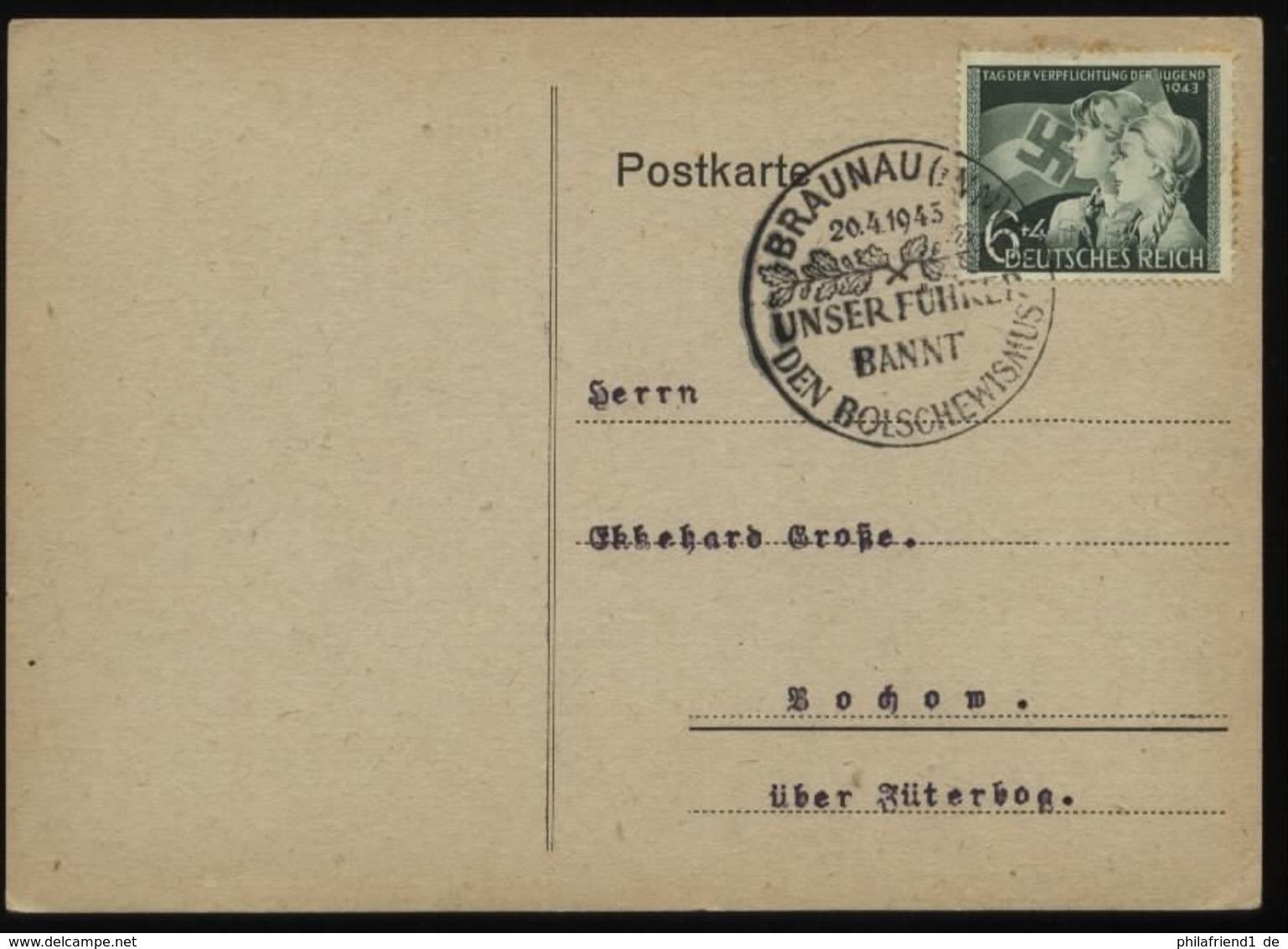 WW II Postkarte : Gebraucht Mit Sonderstempel Adolf Hitler Geburtstag 20.4.1943 Braunau Am Inn , Stempelbeleg. - Briefe U. Dokumente