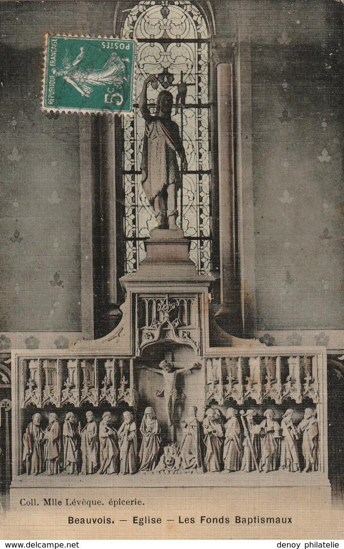 59/ Bauvois - Beauvois -  Eglise Les Fonds Baptismaux  - Carte Toilée Colorisée écrite En 1908 - Frankreich