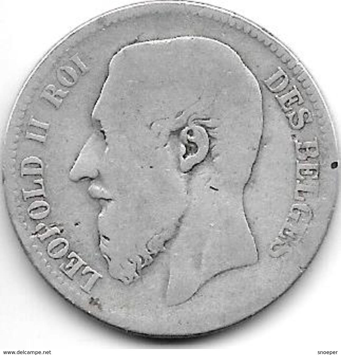 *belguim 2 Francs  Leopold I 1866 French Model A Met Kruis Fr - 1831-1865: Léopold I