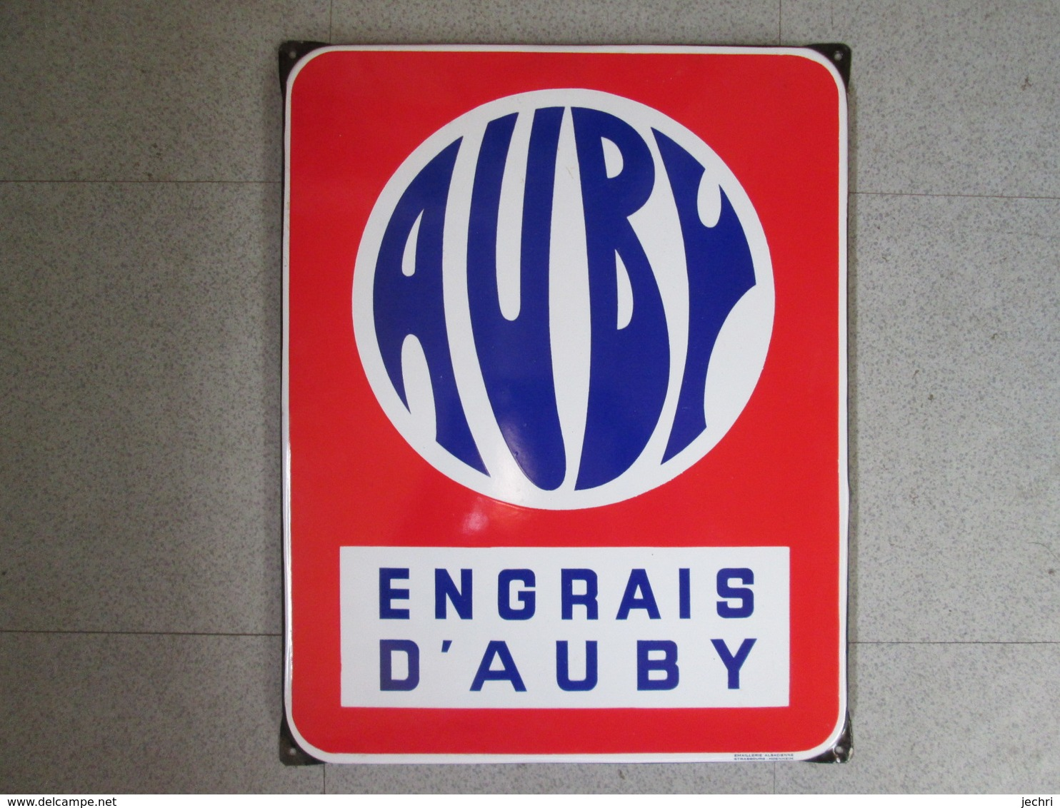 Plaque Emaillee Ancienne  Engrais Auby . Emaillerie Alsacienne - Farm