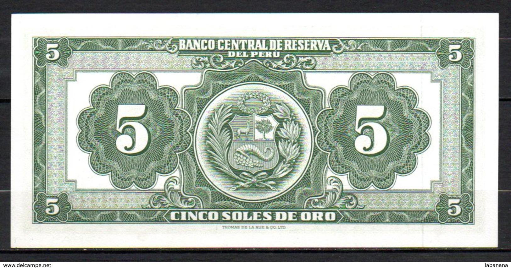 616-Pérou Billet De 5 Soles De Oro 1968 J135 Neuf - Pérou