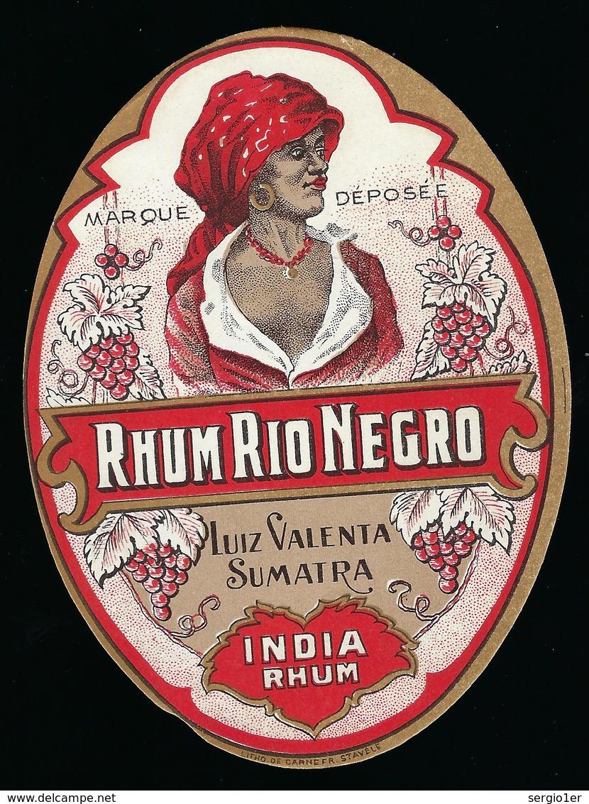 """Ancienne Etiquette  Rhum Rio Negro  India Rhum Luiz Valenta Sumatra """"femme Coiffe"""" - Rhum"""