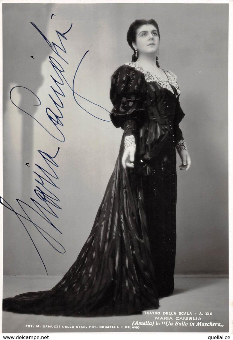 """0835 """"MARIA CANIGLIA 1905/1979 - SOPRANO - TEATRO ALLA SCALA 1941 - UN BALLO IN MASCHERA"""" FOTO CON AUTOGRAFO - Dédicacées"""