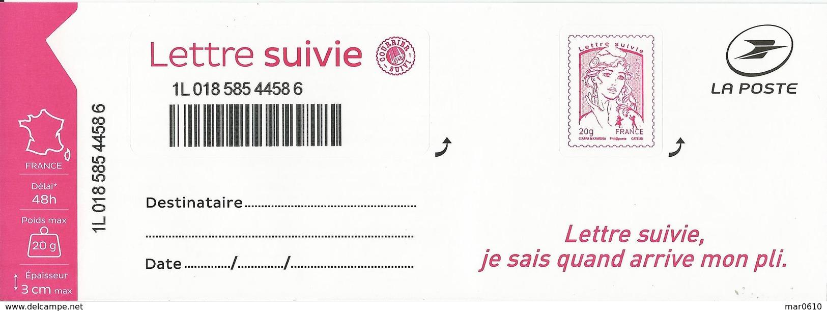 2016 - Feuillet Lettre Suivie 20 Gr Adhésif Y&T 1217B - 3ème Tirage - 2013-... Marianne De Ciappa-Kawena