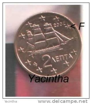 @Y@  Griekenland  1 - 2 - 5 Cent   2002  UNC  Met Letter F - Greece
