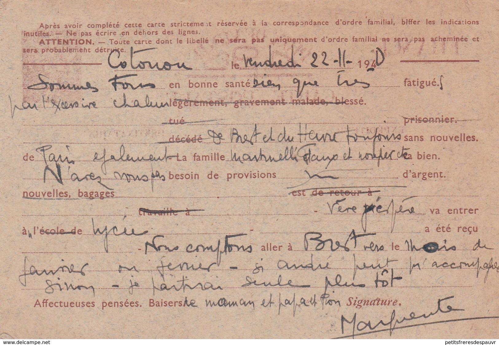 Guerre 1940 CP Interzones Type Iris Sur Carton Gris Bleu H1B3 RARE UTILISATION A COTONOU Dahomey Censurée 22/11/1940 - Marcophilie (Lettres)