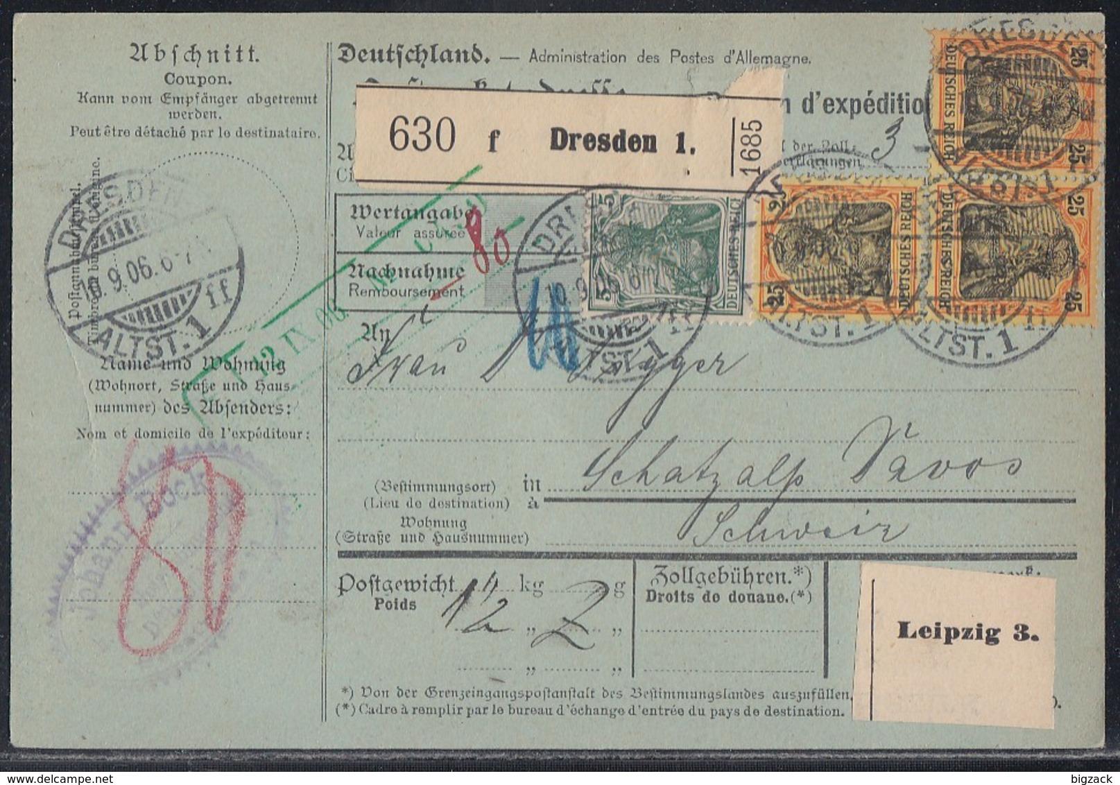 DR Paketkarte Mif Minr.85I, 3x 88I Dresden 10.9.06 Gel. In Schweiz - Deutschland