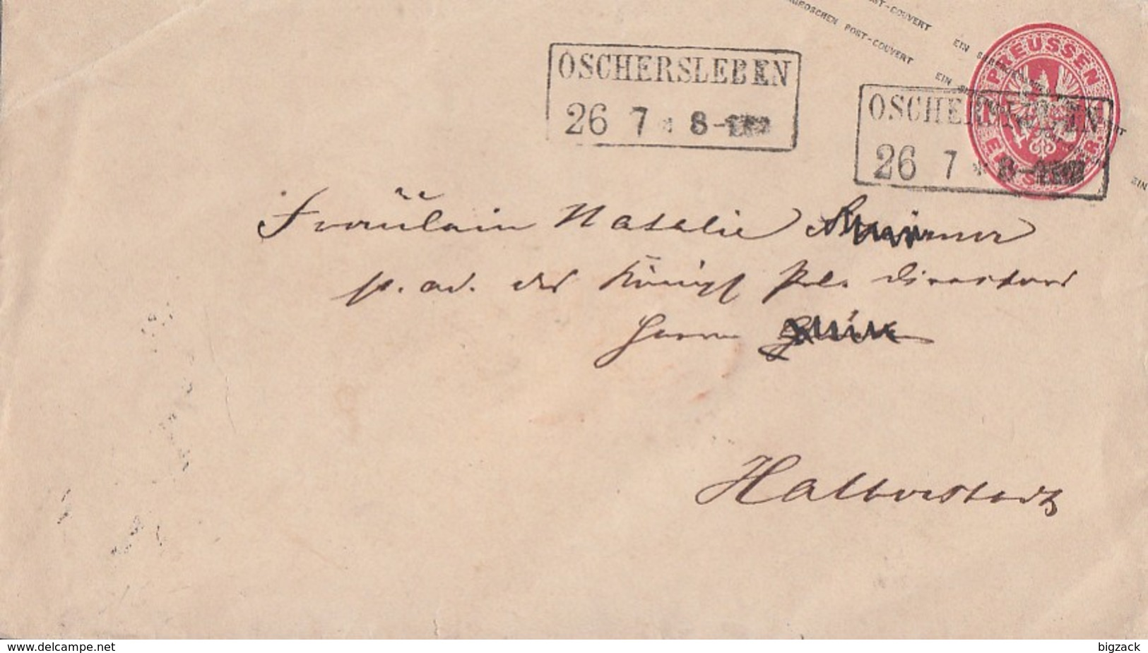 Preussen GS-Umschlag 1 Silbergr. R2 Oschersleben 26.7. - Preussen