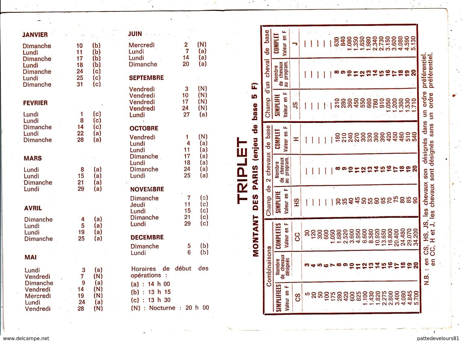 CPSM (31) TOULOUSE Calendrier 1982 Des Courses Hippiques Hippodrome De La Cépière Chevaux Hors (2 Scans) - Calendriers