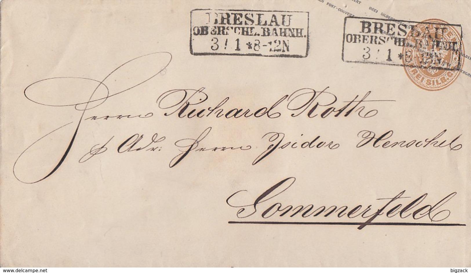 Preussen GS-Umschlag 3 Silbgr. R3 Breslau Oberschl. Bahnh. 3.1. Gel. Nach Sommerfeld - Preussen