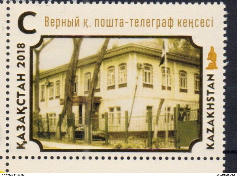 KAZAKHSTAN, 2018, MNH,25th ANNIVERSARY OF KAZAKH POST, POSTAL AND TELEGRAPH OFFICE OF VERNY,ARCHITECTURE,  1v - Post