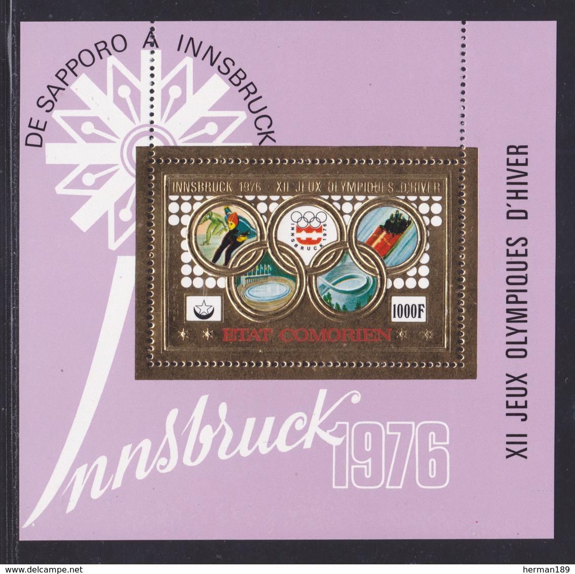 COMORES BLOC N°   5BB ** MNH Neuf Sans Charnière (CLR424) Jeux Olympiques D'hiver Innsbruck -1976 - Comoros