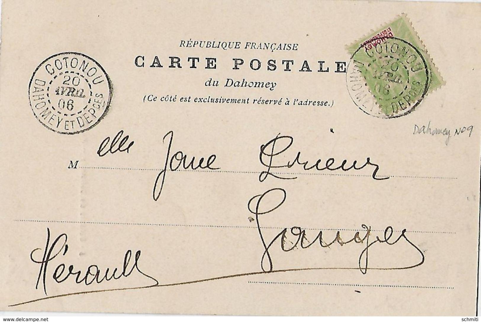 -Colonie Du Dahomey,paysage COTONOU,(maison Au Fond-Avril 1906-Envoyé Vers Ganges(Hérault) - Dahomey