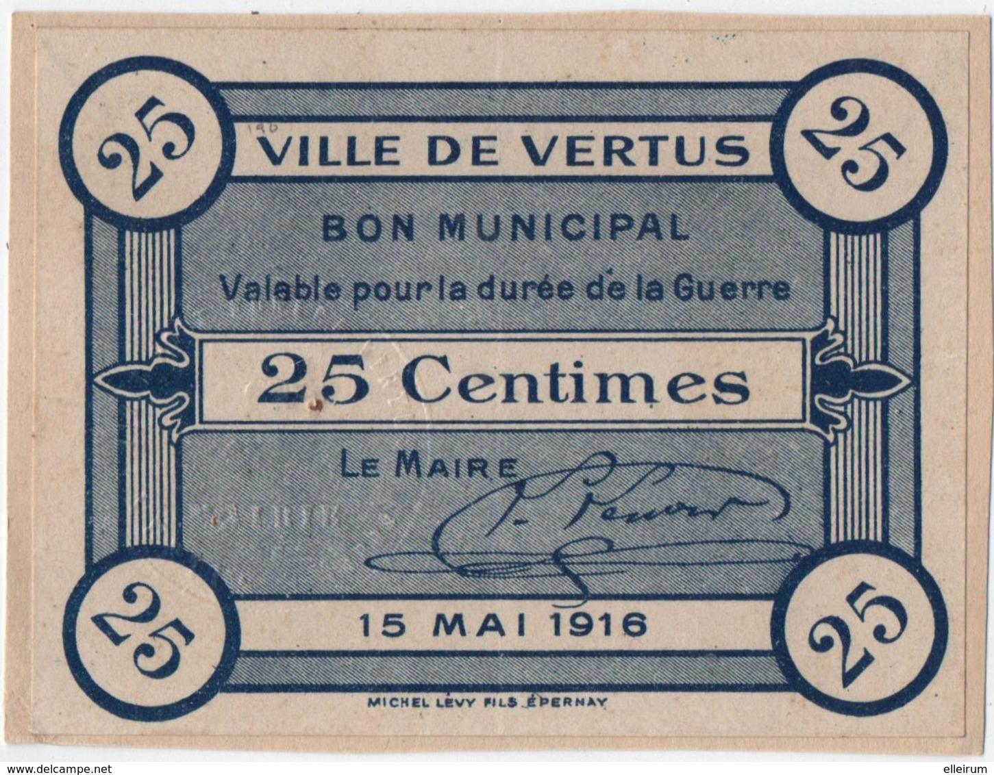 VERTUS (51) BON MUNICIPAL. 25 CENTIMES. 1916. - Bons & Nécessité