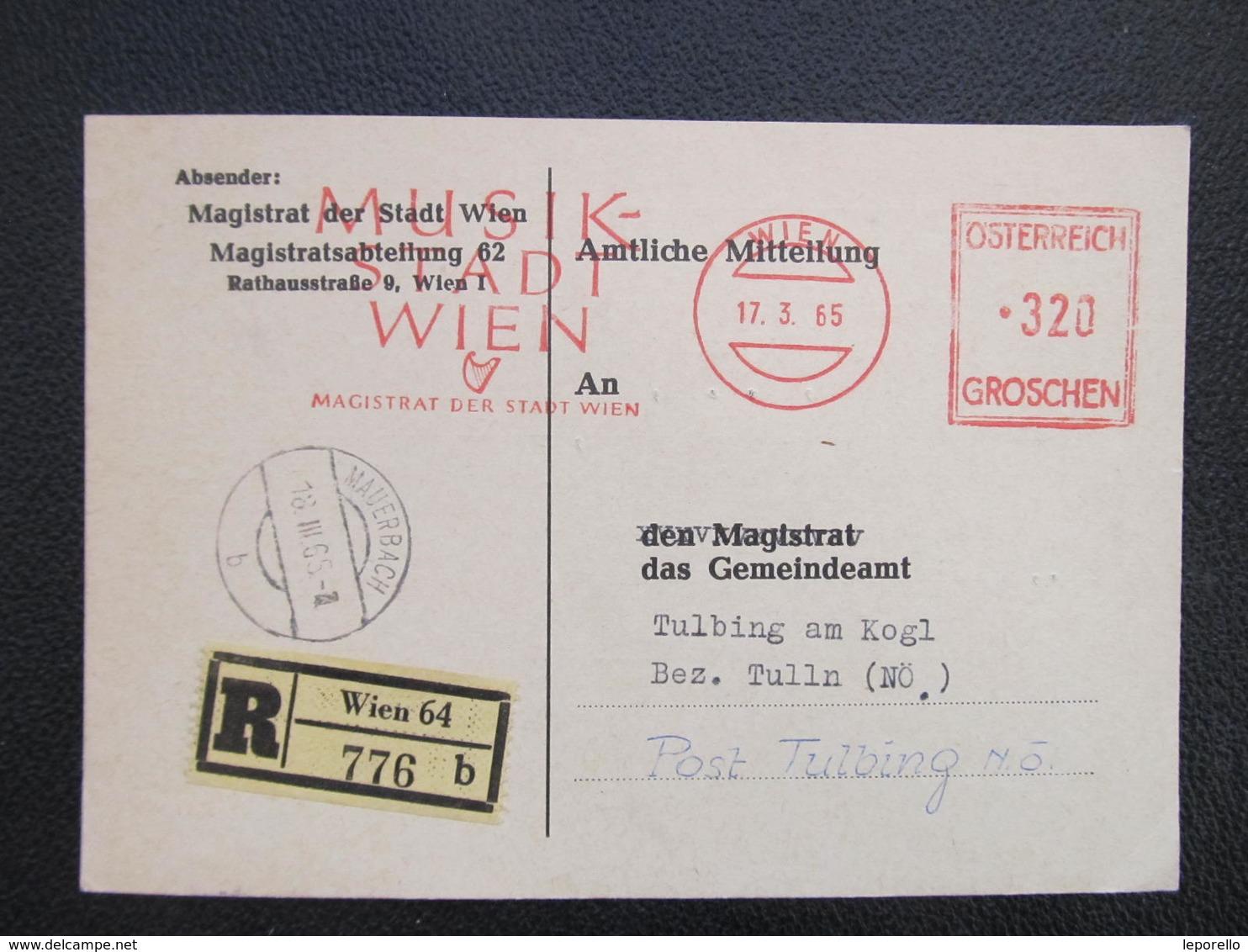BRIEF Wien Musik Stadt Wien 1965  Frankotype Postfreistempel // L3880 - 1945-.... 2. Republik
