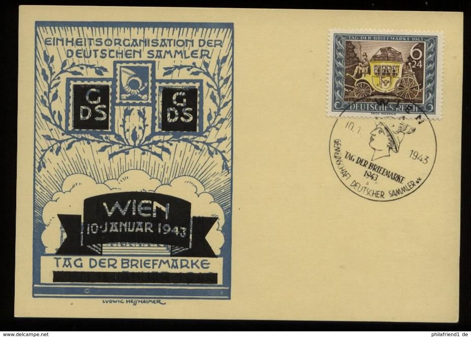 3. Reich - DR Postkarte Tag Der Briefmarke: Gebraucht Mit Sonderstempel Tag Der Briefmarke Wien 1943 - Germany