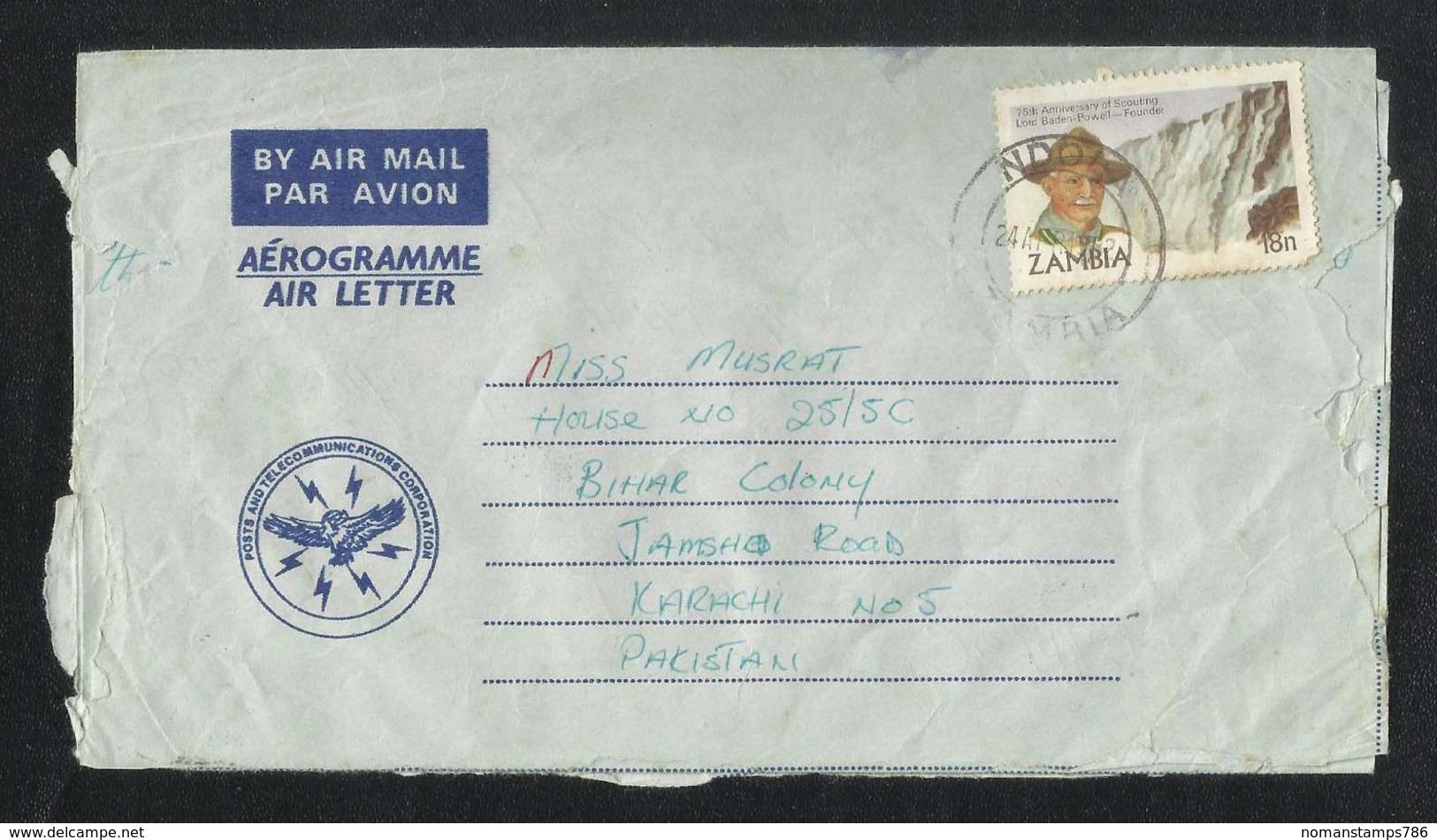 Zambia 1982 Scouting Air Mail Postal Used Aerogramme Cover Zambia To  Pakistan Scout - Zambia (1965-...)