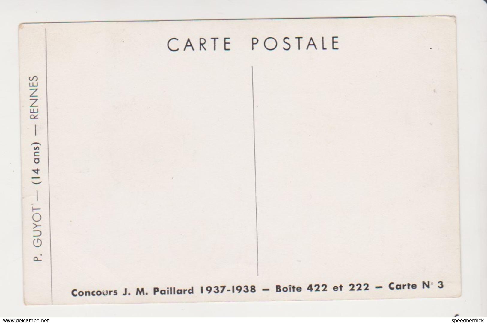 26657 Rennes 35 France CONCOURS DESSIN J. M. PAILLARD 1936-37 P. GUYOT 14 Ans Enfant -ed Paillard, N° 3 - Rennes