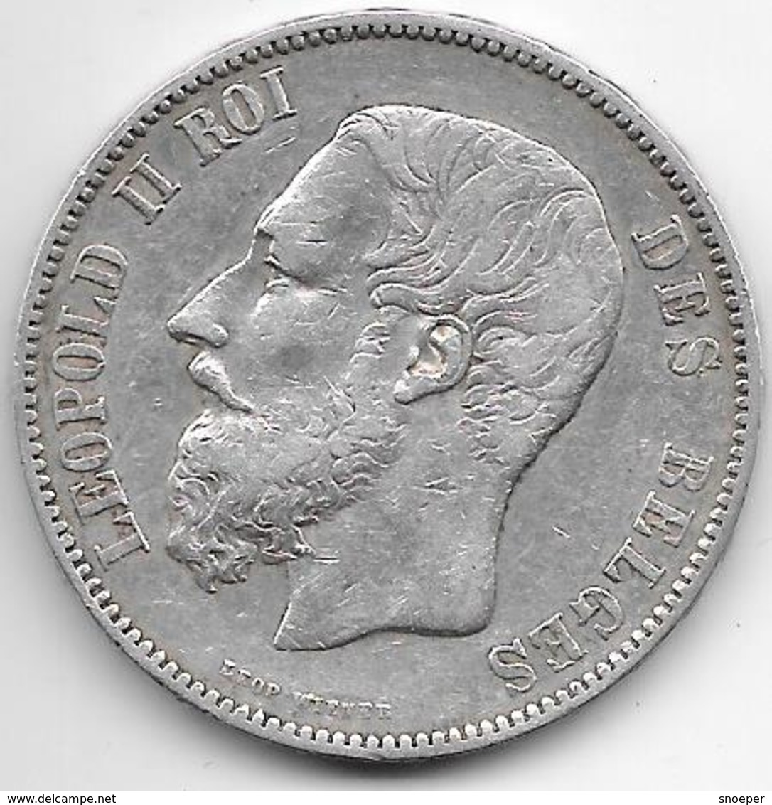 *Belguim 5 Francs 1870    Leopold II Vf - 1865-1909: Leopold II