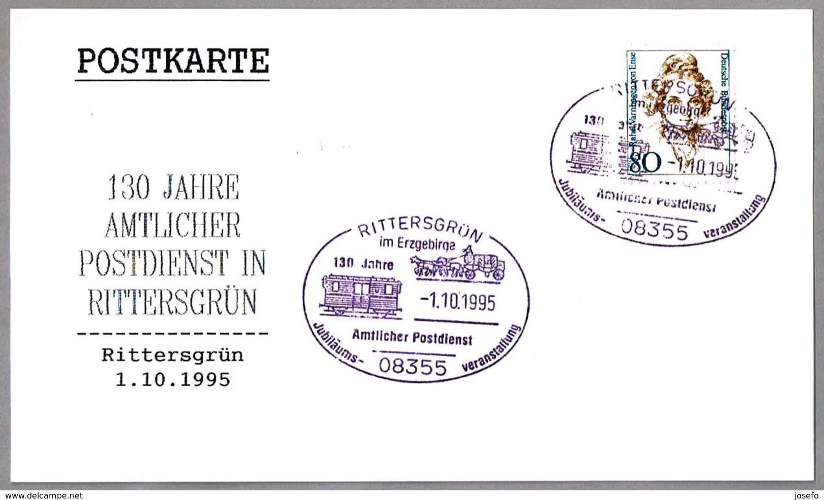 130 Años SERVICIO POSTAL - Furgon De Correos - Traveling Post Office. Rittersgrun 1995 - Correo Postal