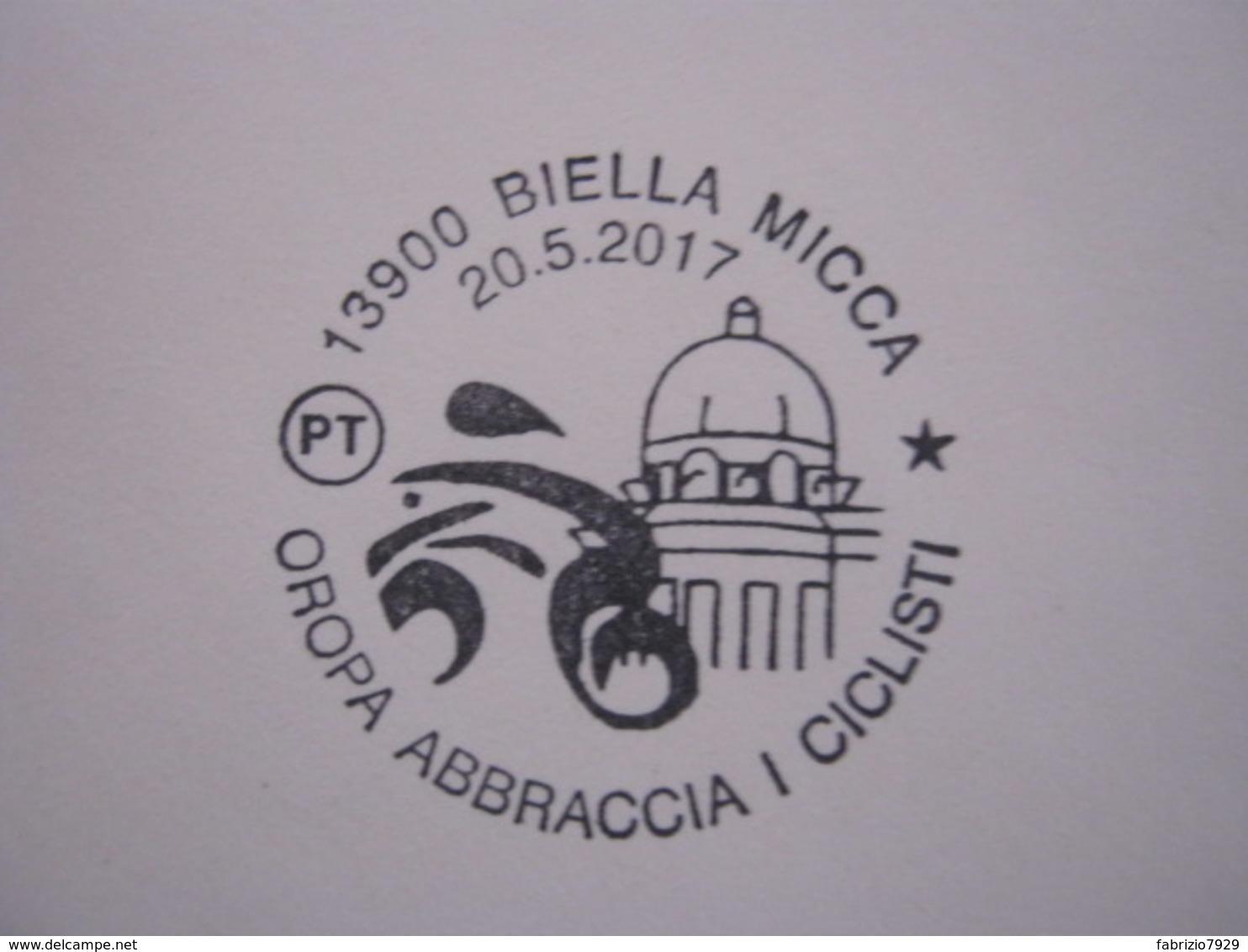A.01 ITALIA ANNULLO - 2017 BIELLA OROPA ABBRACCIA I CICLISTI CICLISMO BICICLE SANTUARIO MONTAGNA - Ciclismo