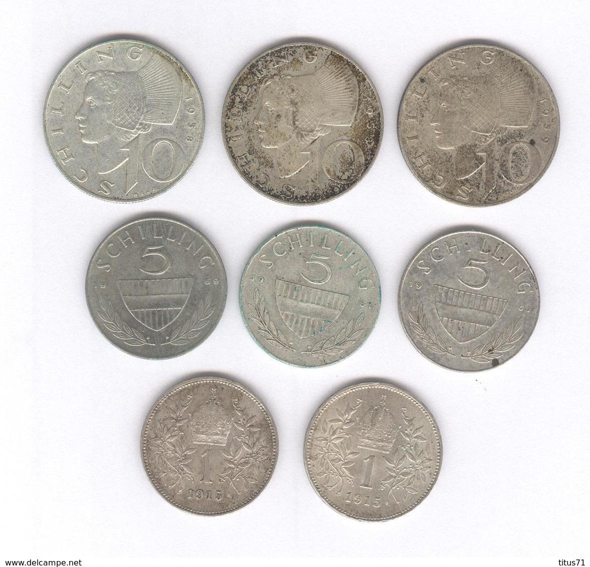 Lot 8 Monnaies Autriche En Argent - Autriche
