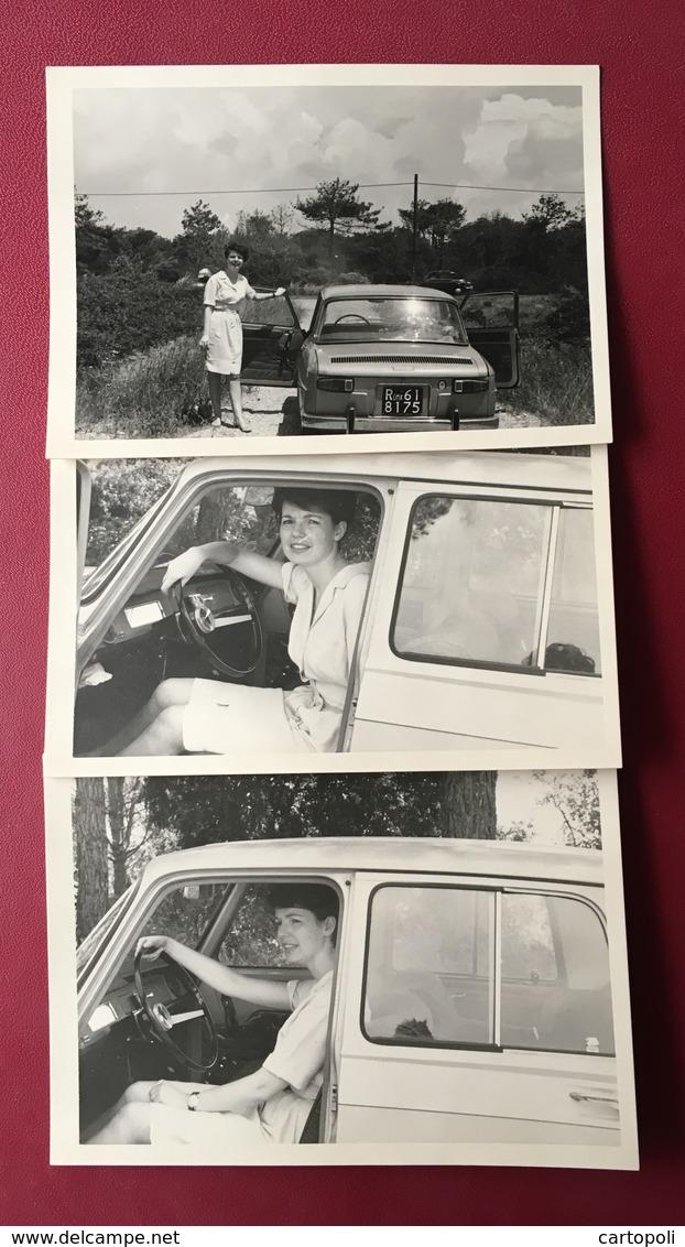 ^ 3 AUTO CAR SIMCA TARGA VISIBILE DONNA LOTTO FOTO PHOTO WOMAN 48 - Automobili