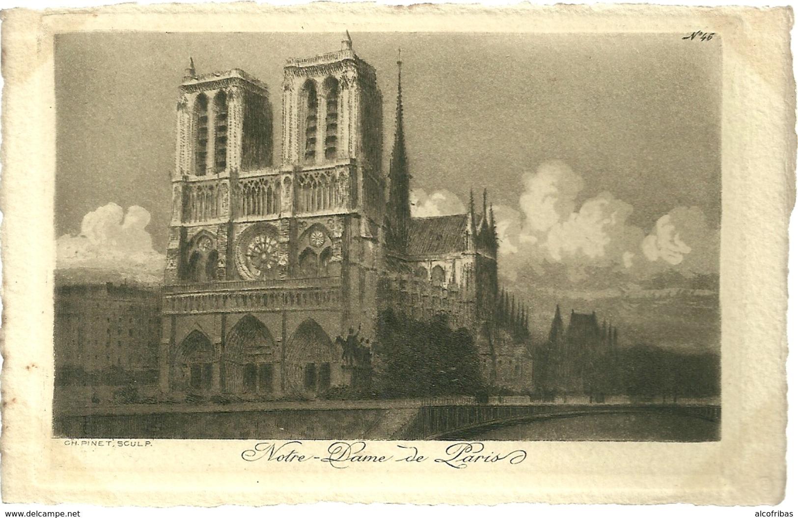 75 CPA Paris Gravure Eau Forte Notre Dame De Paris Pinet Graveur N° 46 - Notre Dame De Paris