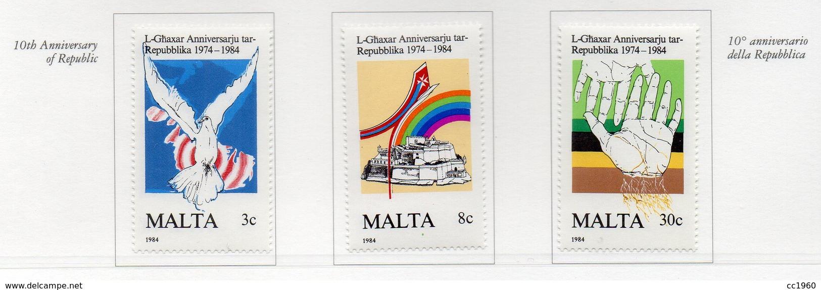 Malta - 1984 - 10° Anniversario Della Repubblica - 3 Valori - Nuovi - Vedi Foto - (FDC13885) - Malta