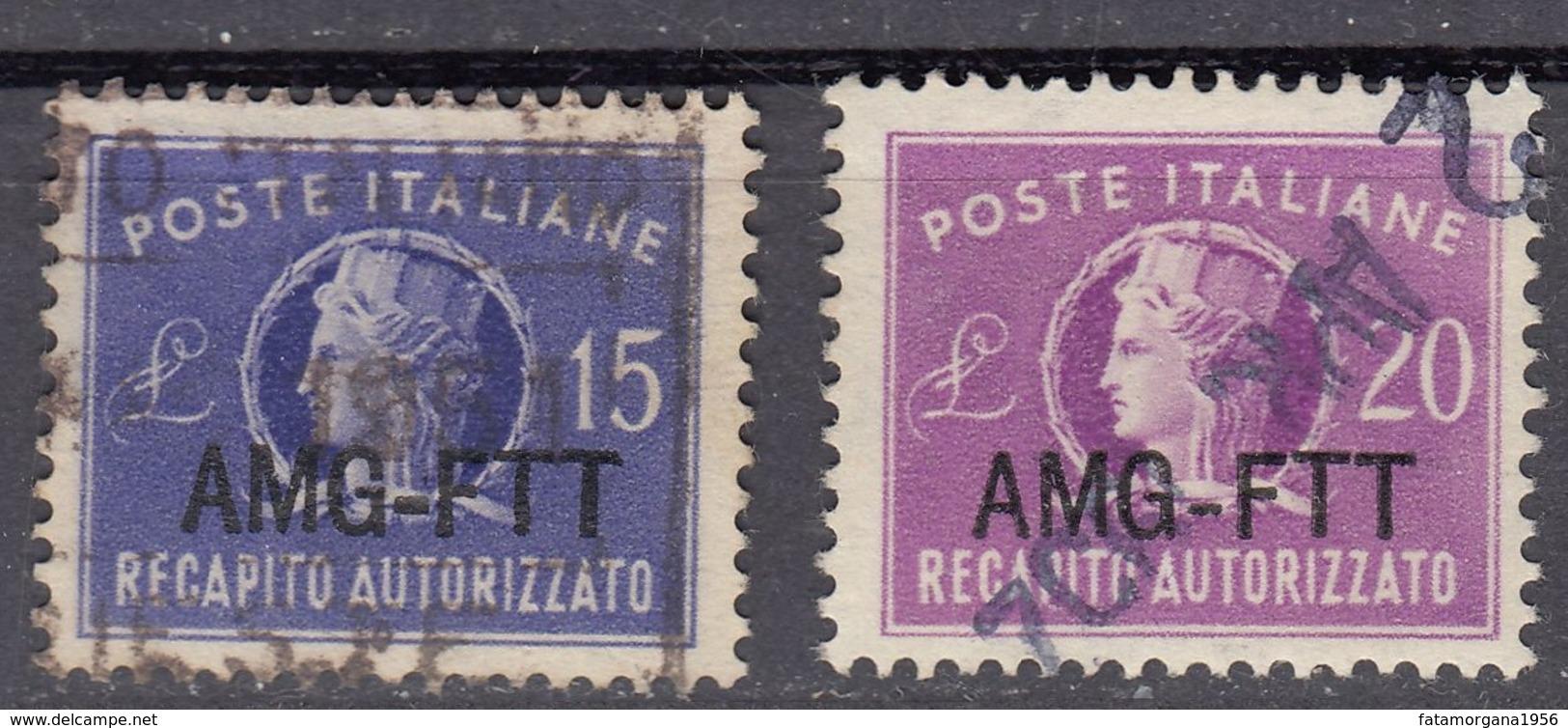 TRIESTE  Zona A AMG-FTT - 1949/1954 - Serie Completa Usata Recapito Autorizzato Yvert 9/10. - Eilsendung (Eilpost)