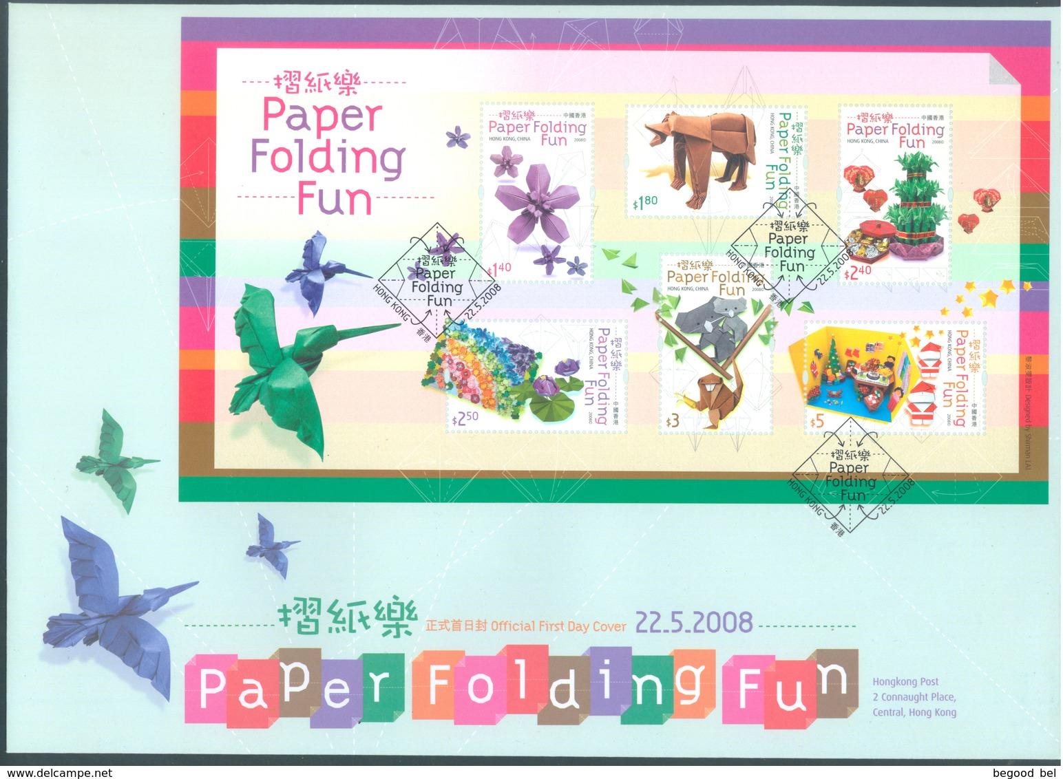 HONG-KONG  - 22.5.2008 -  FDC - PAPER FOLFING FUN - Yv 1385-1390 BLOC 171   - Lot 18910 - 1997-... Région Administrative Chinoise