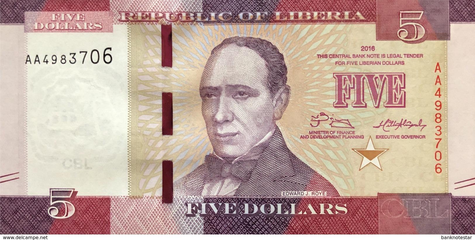 Liberia 5 Dollars, P-31 (2016) - UNC - Liberia