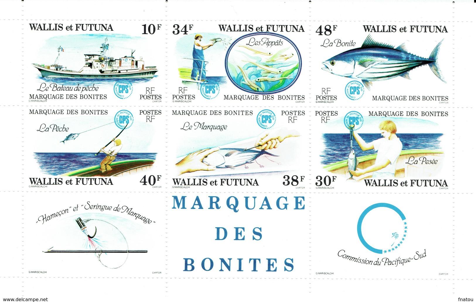 Wallis And Futuna, Fish, Skipjack Tuna, 1979, MNH VF  Souvenir Sheet Of 6 - Wallis And Futuna