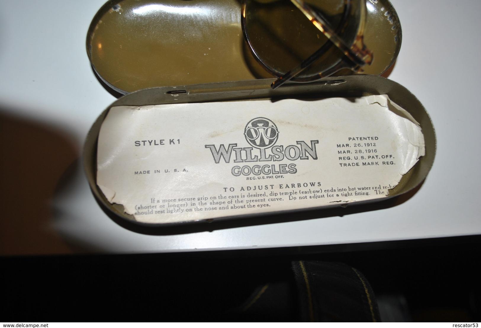 Très Rare Paire De Lunettes Avion Ou Moto Ou Voiture Willson Googles USA Brevet 1916 Dans Son étui En Métal - 1914-18