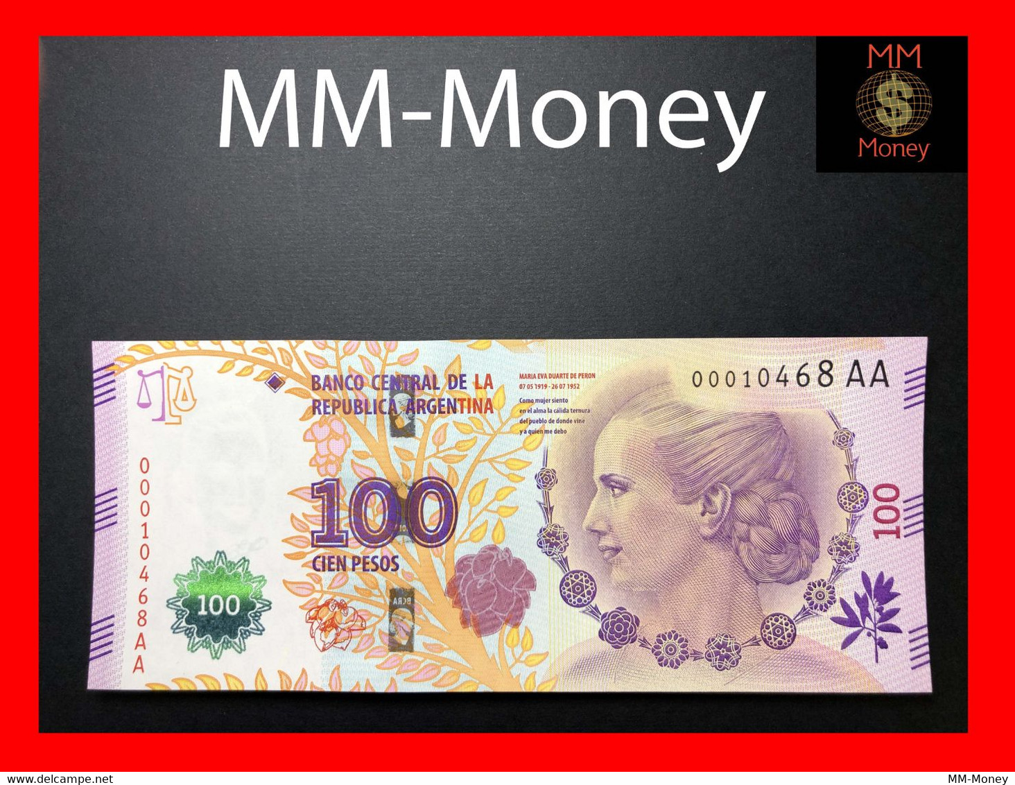 ARGENTINA 100 Pesos P. 358 2016 UNC Evita Serie AA Marks For The Blinds - Argentine