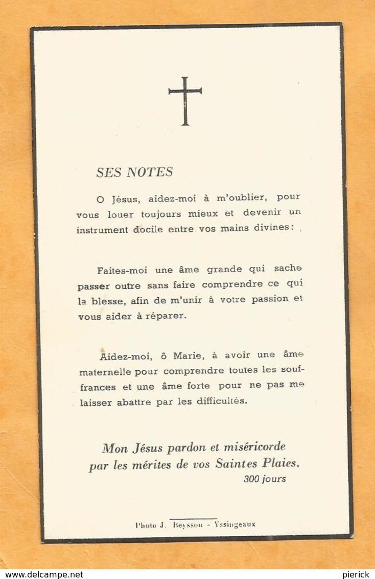 IMAGE GENEALOGIE FAIRE PART AVIS DECES CARTE MORTUAIRE SOEUR THEREZIA COURT 1958 - Décès
