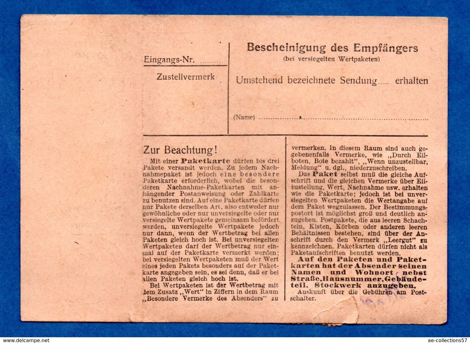 Colis Postal  -  Départ Götzingen   -- 15/12/1943  - Avec Rabat - Allemagne
