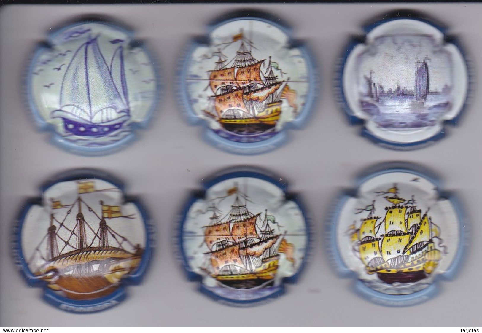 LOTE DE 6 PLACAS DE CAVA ETV NEGRA DE BARCOS (CAPSULE) BARCO-SHIP - Placas De Cava