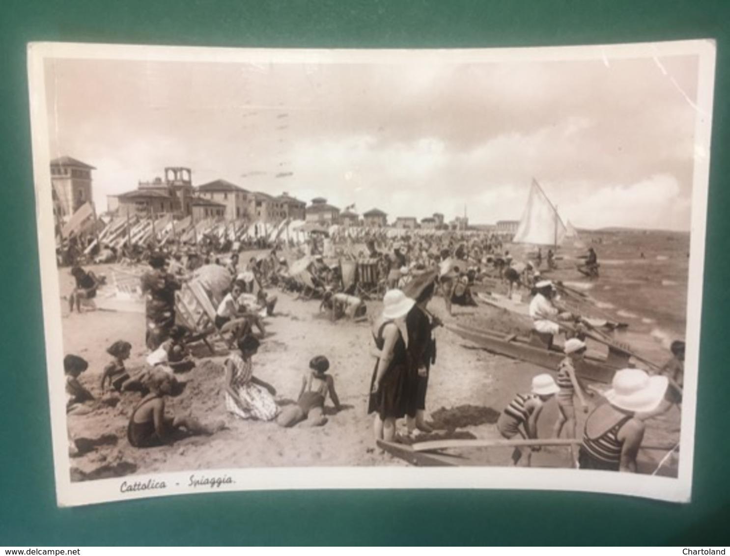 Cartolina Cattolica - Spiaggia -  1947 - Rimini