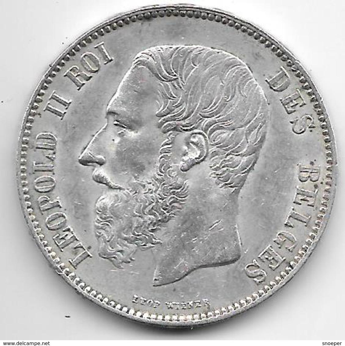 *Belguim 5 Francs 1873 Short Protege    Leopold II Vf+ - 1865-1909: Leopold II