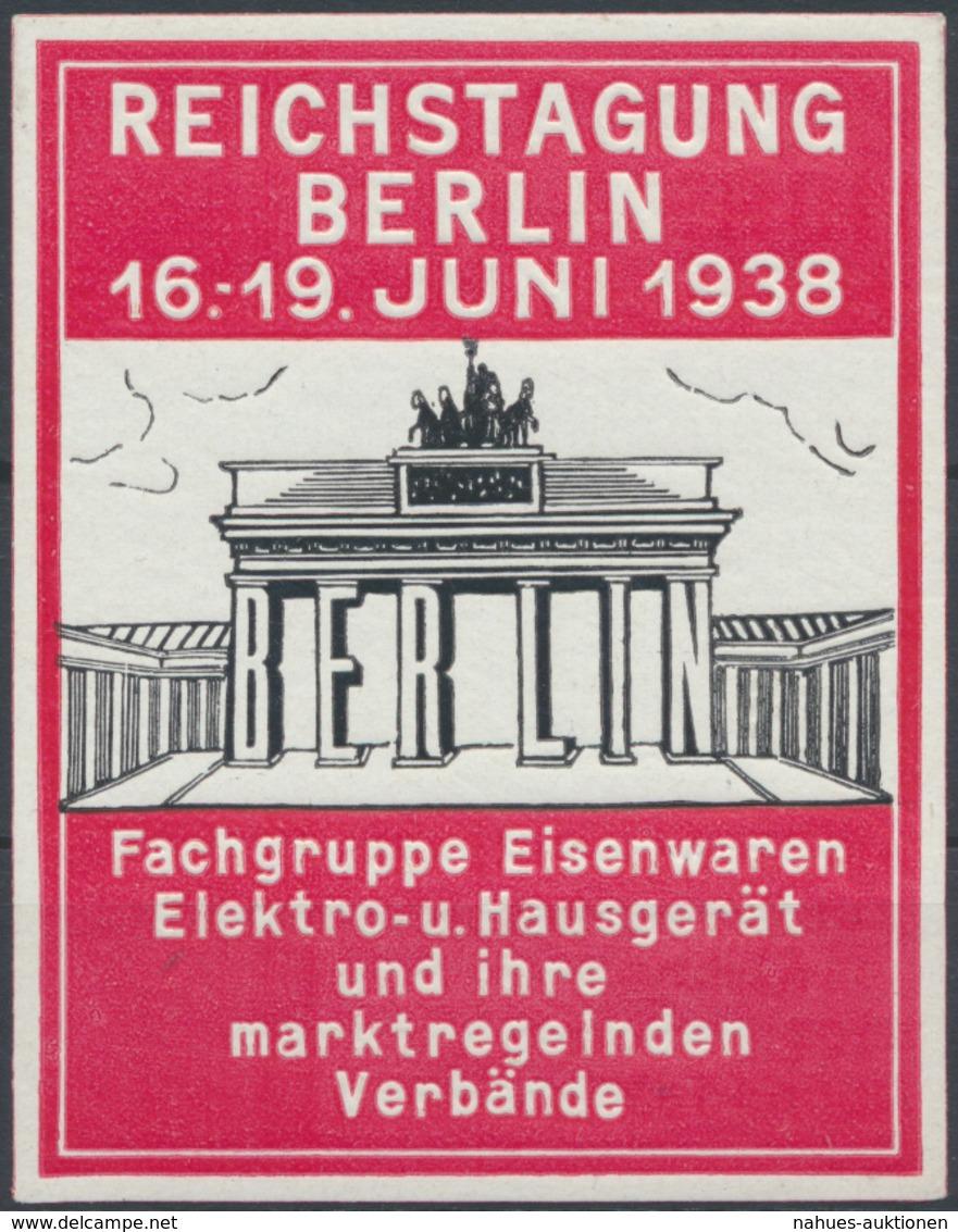 Reklame Werbung Vignette Reichstagung Berlin Eisenwarenhändler Brandenburger Tor - Briefmarken