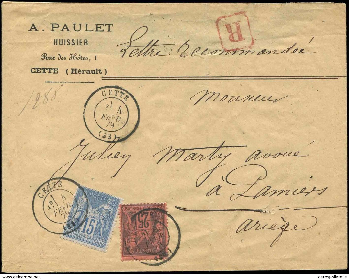 Let TYPE SAGE SUR LETTRES - N°90 Et 91 Obl. Càd CETTE 4/2/79 S. Env. Rec., TB - Postmark Collection (Covers)