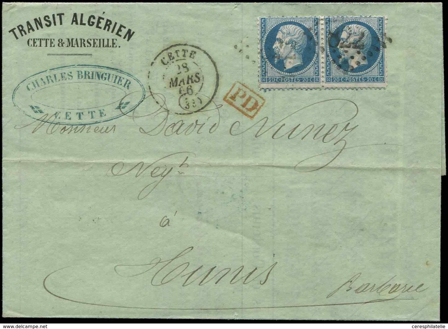 Let DESTINATIONS - N°22 PAIRE Obl. GC 822 S. LAC Transit Algérien, Càd CETTE 28/3/66, Arr. Càd Perlé TUNIS 5/4, TB - Postmark Collection (Covers)