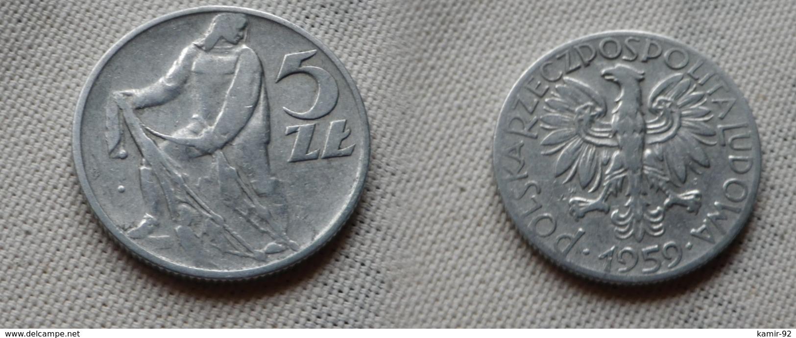 Pologne      5 Zlotych  1959    KM#Y 47    Aluminium  TB - Pologne