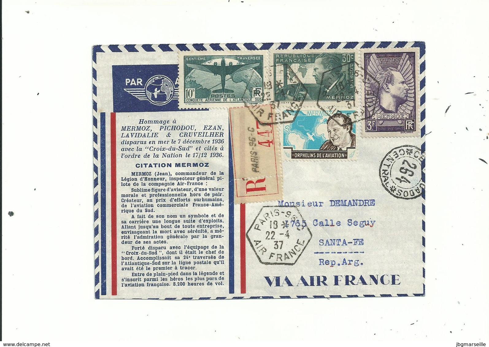 LR Du 22 Avril 1937.. De  Paris .pour L'Argentine..avec N°321 Et Hommage à MERMOZ...(1er Jour) + Vignette.....à Voir.... - France