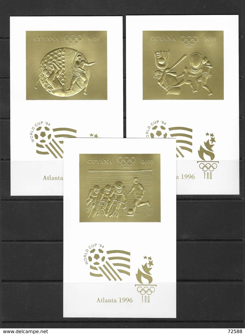 GUYANA Soccer,football, World Cup -1994 Gold Imperf. MNH** - Coupe Du Monde