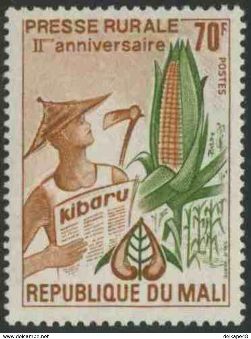 "Mali 1974 Mi 428 YT 215 SG 430 ** Corncob, Worker, ""Kibaru"" Newspaper – 2nd Ann. Rural Press / Landwirtschaftspresse - Mali (1959-...)"