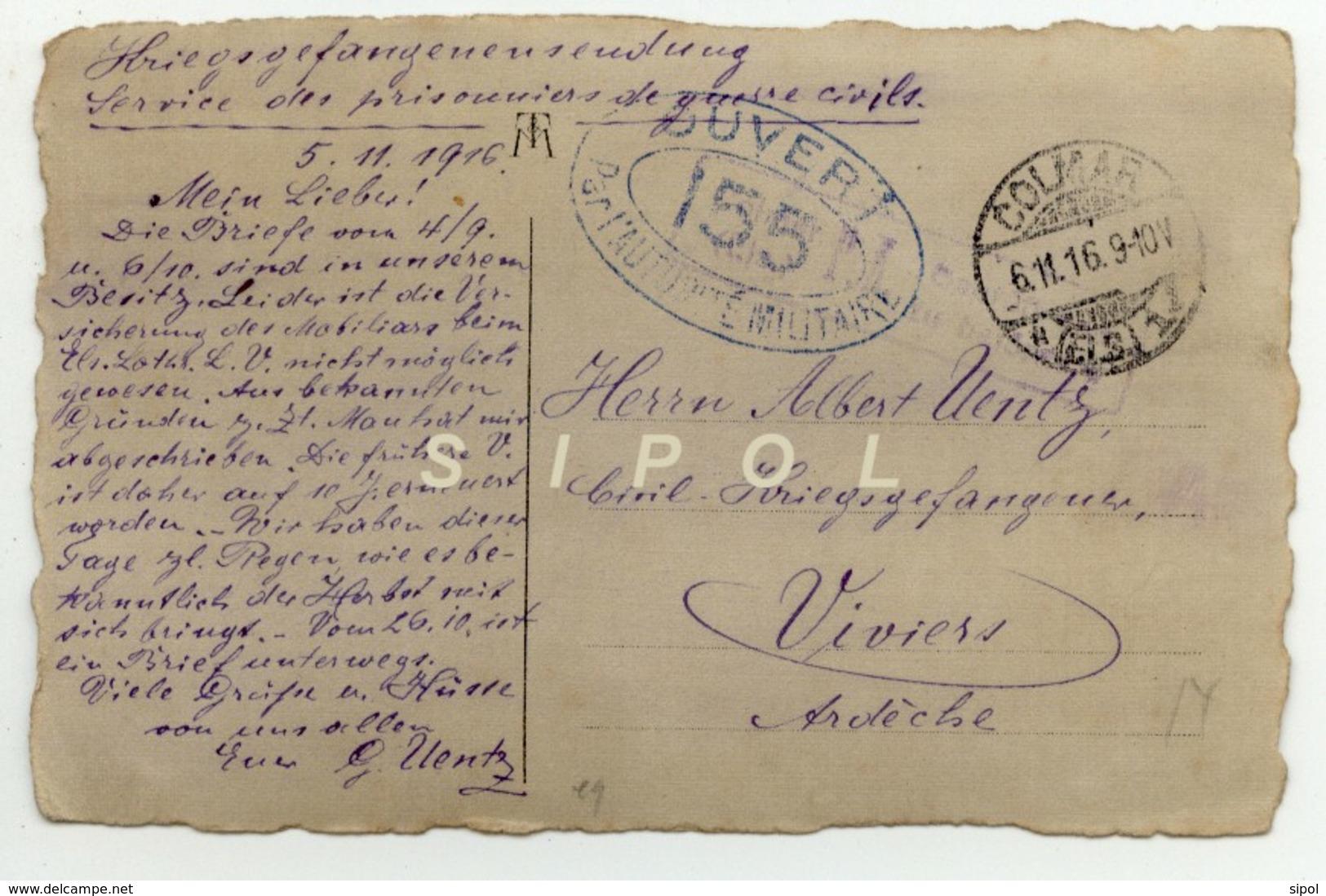 Gustave Uentz ( Colmar ) Prisonnier De Guerre Civil Cachet De Censure 155 En 1916 - 1914-18